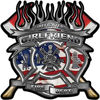 Fire Fighter Girlfriend Maltese Cross Flaming Axe Decal Reflective with american flag
