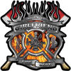 Fire Fighter Girlfriend Maltese Cross Flaming Axe Decal Reflective in Inferno Flames