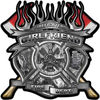 Fire Fighter Girlfriend Maltese Cross Flaming Axe Decal Reflective in Inferno Gray Flames