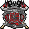 Fire Fighter Girlfriend Maltese Cross Flaming Axe Decal Reflective in Inferno Red Flames