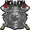 Fire Fighter Girlfriend Maltese Cross Flaming Axe Decal Reflective in Silver