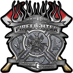 Fire Fighter Maltese Cross Flaming Axe Decal Reflective in Diamond Plate