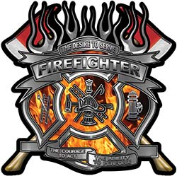 Fire Fighter Maltese Cross Flaming Axe Decal Reflective in Inferno Flames