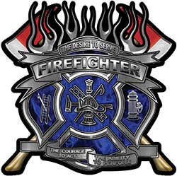 Fire Fighter Maltese Cross Flaming Axe Decal Reflective in Inferno Blue Flames