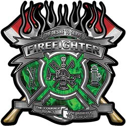 Fire Fighter Maltese Cross Flaming Axe Decal Reflective in Inferno Green Flames