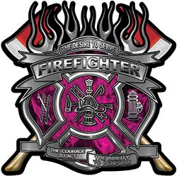 Fire Fighter Maltese Cross Flaming Axe Decal Reflective in Inferno Pink Flames