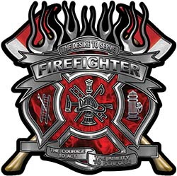 Fire Fighter Maltese Cross Flaming Axe Decal Reflective in Inferno Red Flames