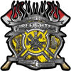 Fire Fighter Maltese Cross Flaming Axe Decal Reflective in Inferno Yellow Flames