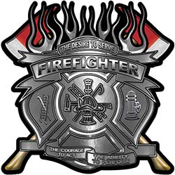 Fire Fighter Maltese Cross Flaming Axe Decal Reflective in Silver