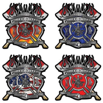 Firefighter Decals with Maltese Cross and Axes