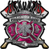 Fire Fighter Paramedic Maltese Cross Flaming Axe Decal Reflective in Pink Camo