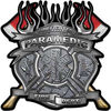 Fire Fighter Paramedic Maltese Cross Flaming Axe Decal Reflective in Diamond Plate