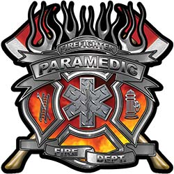 Fire Fighter Paramedic Maltese Cross Flaming Axe Decal Reflective in Real Fire