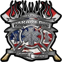 Fire Fighter Paramedic Maltese Cross Flaming Axe Decal Reflective with american flag