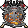 Fire Fighter Paramedic Maltese Cross Flaming Axe Decal Reflective in Inferno Flames