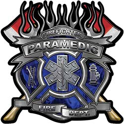 Fire Fighter Paramedic Maltese Cross Flaming Axe Decal Reflective in Inferno Blue Flames