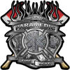 Fire Fighter Paramedic Maltese Cross Flaming Axe Decal Reflective in Inferno Gray Flames
