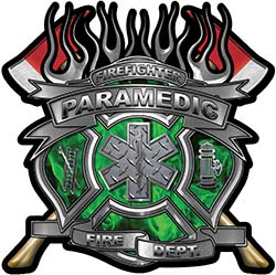 Fire Fighter Paramedic Maltese Cross Flaming Axe Decal Reflective in Inferno Green Flames