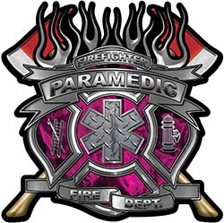 Fire Fighter Paramedic Maltese Cross Flaming Axe Decal Reflective in Inferno Pink Flames