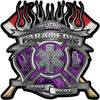 Fire Fighter Paramedic Maltese Cross Flaming Axe Decal Reflective in Inferno Purple Flames
