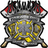 Fire Fighter Paramedic Maltese Cross Flaming Axe Decal Reflective in Inferno Yellow Flames