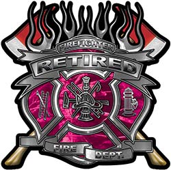 Fire Fighter Retired Maltese Cross Flaming Axe Decal Reflective in Pink Camo