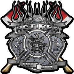 Fire Fighter Retired Maltese Cross Flaming Axe Decal Reflective in Diamond Plate