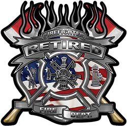 Fire Fighter Retired Maltese Cross Flaming Axe Decal Reflective with american flag