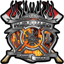 Fire Fighter Retired Maltese Cross Flaming Axe Decal Reflective in Inferno Flames