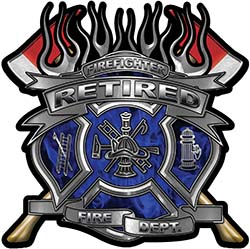 Fire Fighter Retired Maltese Cross Flaming Axe Decal Reflective in Inferno Blue Flames