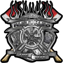 Fire Fighter Retired Maltese Cross Flaming Axe Decal Reflective in Inferno Gray Flames