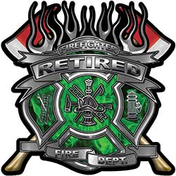 Fire Fighter Retired Maltese Cross Flaming Axe Decal Reflective in Inferno Green Flames