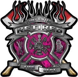 Fire Fighter Retired Maltese Cross Flaming Axe Decal Reflective in Inferno Pink Flames