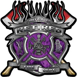 Fire Fighter Retired Maltese Cross Flaming Axe Decal Reflective in Inferno Purple Flames
