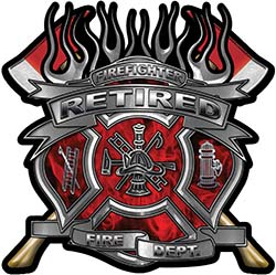 Fire Fighter Retired Maltese Cross Flaming Axe Decal Reflective in Inferno Red Flames