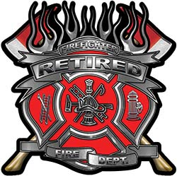 Fire Fighter Retired Maltese Cross Flaming Axe Decal Reflective in Red