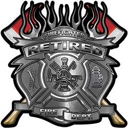 Fire Fighter Retired Maltese Cross Flaming Axe Decal Reflective in Silver