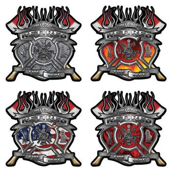 Retired Firefighter Decals with Maltese Cross and Twin Axes
