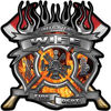 Fire Fighter Wife Maltese Cross Flaming Axe Decal Reflective in Inferno Flames