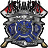 Fire Fighter Wife Maltese Cross Flaming Axe Decal Reflective in Inferno Blue Flames