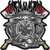 Fire Fighter Wife Maltese Cross Flaming Axe Decal Reflective in Inferno Gray Flames