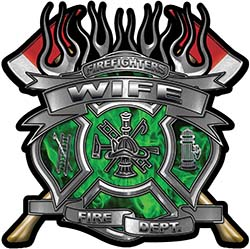 Fire Fighter Wife Maltese Cross Flaming Axe Decal Reflective in Inferno Green Flames