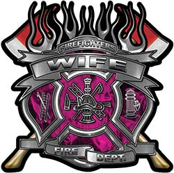 Fire Fighter Wife Maltese Cross Flaming Axe Decal Reflective in Inferno Pink Flames