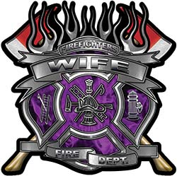 Fire Fighter Wife Maltese Cross Flaming Axe Decal Reflective in Inferno Purple Flames