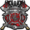 Fire Fighter Wife Maltese Cross Flaming Axe Decal Reflective in Inferno Red Flames