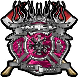 Fire Fighter Wife Maltese Cross Flaming Axe Decal Reflective in Pink Camo