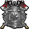 Fire Fighter Wife Maltese Cross Flaming Axe Decal Reflective in Silver