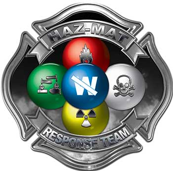 Hazmat Hazardous Materials Response Team Fire Fighter Decal with Maltese Cross in Reflective Gray