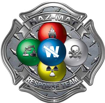 Hazmat Hazardous Materials Response Team Fire Fighter Decal with Maltese Cross in Reflective Diamond Plate