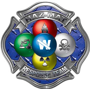 Hazmat Hazardous Materials Response Team Fire Fighter Decal with Maltese Cross in Reflective Diamond Plate Blue